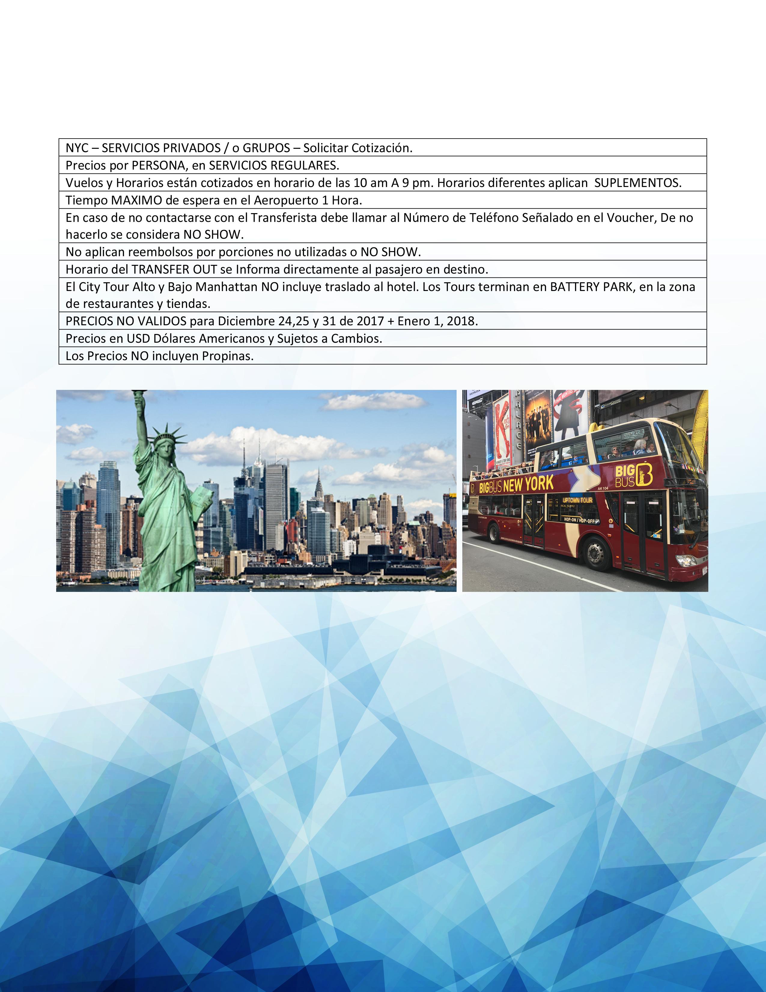 Servicios & traslados + Tours New York - Costa Este2