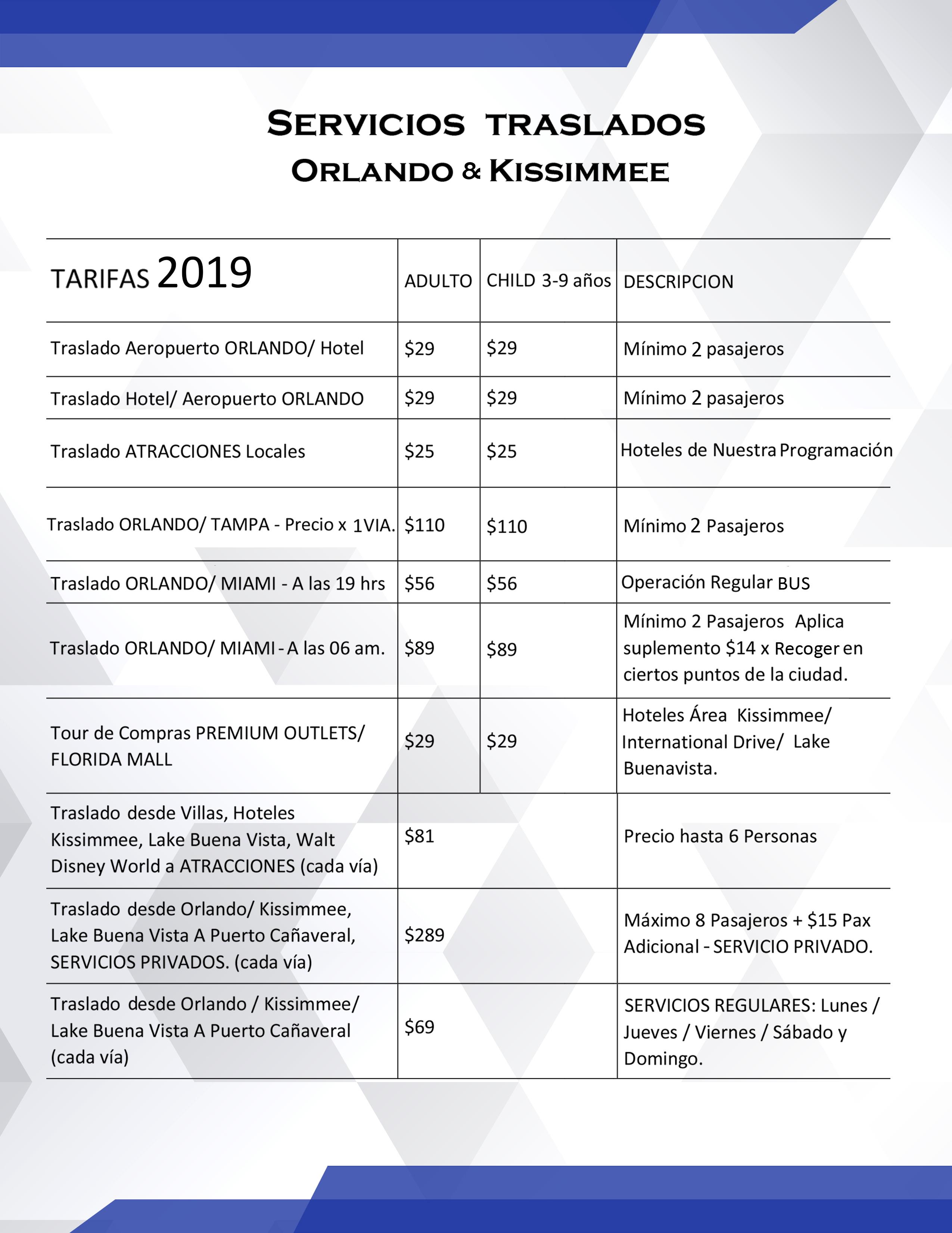 servicios + traslados Orlando + Kissimmee1